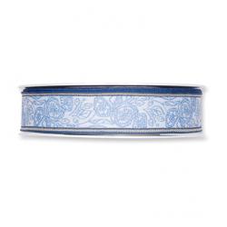 """Ruban Tissu""""Flowers"""" 25mmx15m Bleu"""