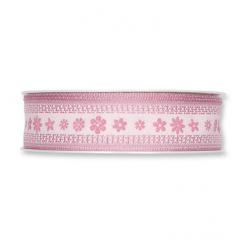 "Ruban Tissu ""Blossoms"" 25mmx15m Rose Ancien"