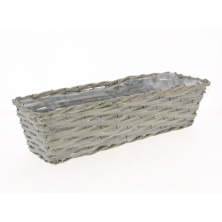 SETH - Jardinière Osier Rectangle Gris L47 x P15 x H12 cm