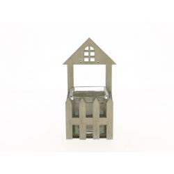 JESS - Maison Bois Naturel et Cube Verre / Verre L7,5 x H8 cm