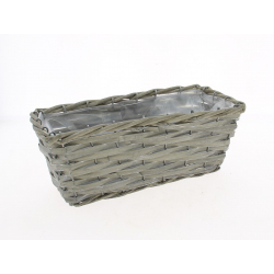 SETH - Jardinière Osier Rectangle Gris L30 x P12 x H11 cm