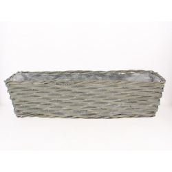 SETH - Jardinière Osier Rectangle Gris L58 x P19 x H15 cm