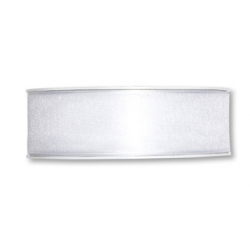 BRET -Ruban Organza/Satin L25mm x L25m Blanc