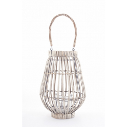 LUZ - Lanterne Feuille Tréssée avec Vase Verre D30 x H37 cm
