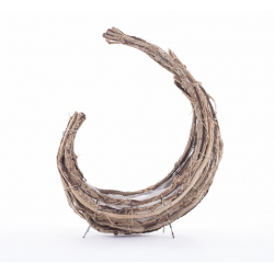 ADEL - Corne Rattan Plat avec Pied Naturel L27 x P13 x H41 cm