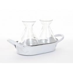BASIN -Bassine Zinc Blanc 2 bouteilles L16 x H8,5 cm