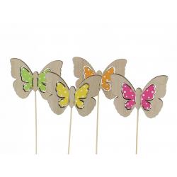 FLY - Pique Papillon Bois Assortis D8 x H20 cm par 12