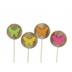 FLY - Pique Papillon Bois Rond Assortis D5,5 x H20 cm par 12