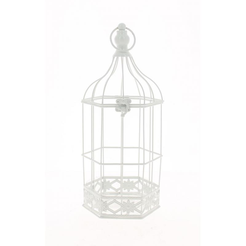 BIRD - Cage Oiseaux Métal Blanc D13,5 x H35 cm