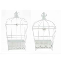BIRD - Cage Oiseaux Métal Blanc L22/25 x P16/18 x H37/47 cm set de 2