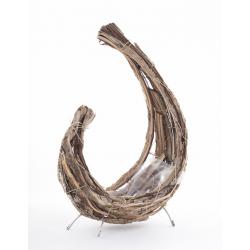 ADEL - Corne Rattan Plat avec Pied Naturel L21 x P11 x H31 cm