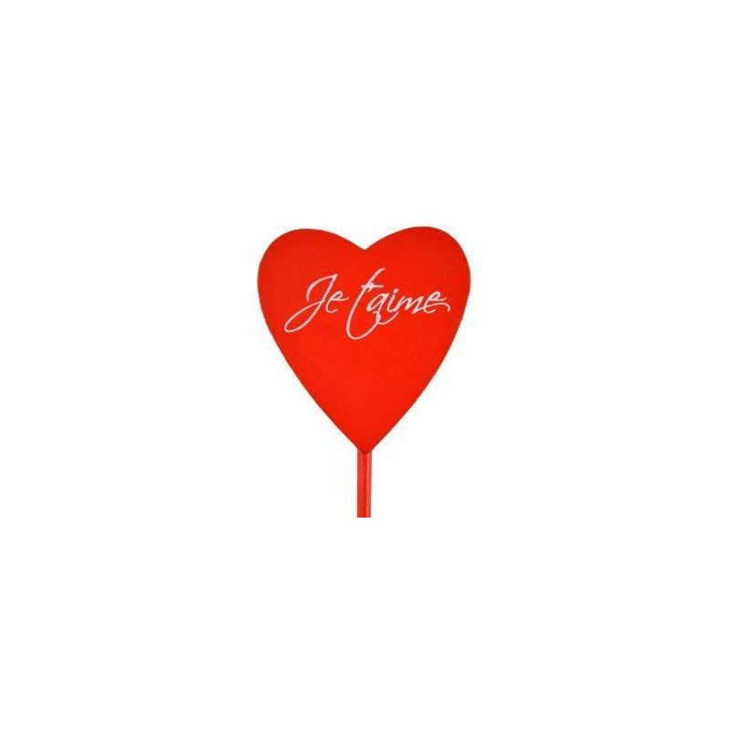 """Pique Cœur bois """"Je t'aime"""" Rouge x 24"""