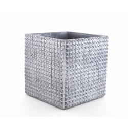 ADAN - Pot Carré Céramique Gris Foncé Rainures L12 x H12 cm
