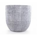 ADAN - Cache Pot Céramique Gris Foncé Rainures D17,5 x H16,5 cm