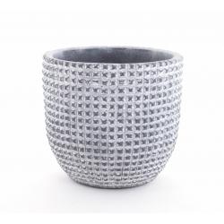 ADAN - Cache Pot Céramique Gris Foncé Rainures D13,5 x H12,5 cm