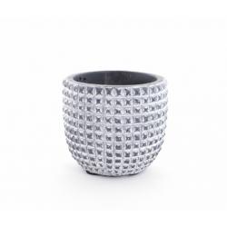 ADAN - Cache Pot Céramique Gris Foncé Rainures D8,5 x H7,5 cm