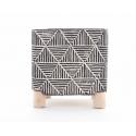 ELMO - Pot Carré Ciment Noir Pieds Bois L12,5 x H13 cm