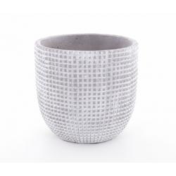 ADAN - Cache Pot Céramique Gris Clair Rainures D17,5 x H16,5 cm