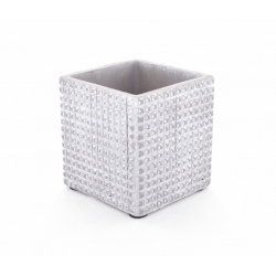 ADAN - Pot Carré Céramique Gris Clair Rainures L10 x H10 cm