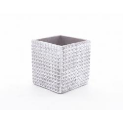 ADAN - Pot Carré Céramique Gris Clair Rainures L9 x H9 cm