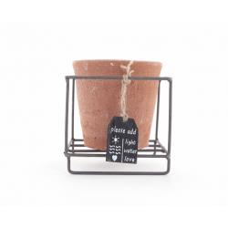 TERRA - Cache Pot Terracotta Rond et Support Zinc D11 x H10,5 cm