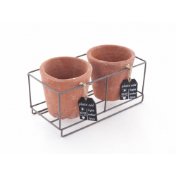 TERRA - Cache Pot Terraco Rond x2 et Support Zinc /Pot D11 x H10,5 cm