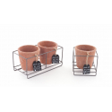 TERRA - Cache Pot Terracotta Rond et Support Zinc /Pot D11 x H10,5 cm
