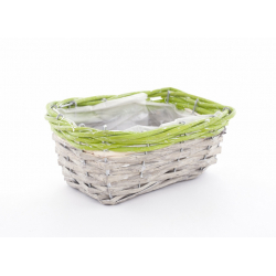 RENO - Vannerie Rectangle Gris Bord Vert L18 x P13 x H8 cm