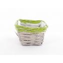 RENO - Vannerie Rectangle Gris Bord Vert L18 x P13 x H8 cm