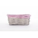 RENO - Vannerie Rectangle Gris Bord Fuchsia L18 x P13 x H8 cm