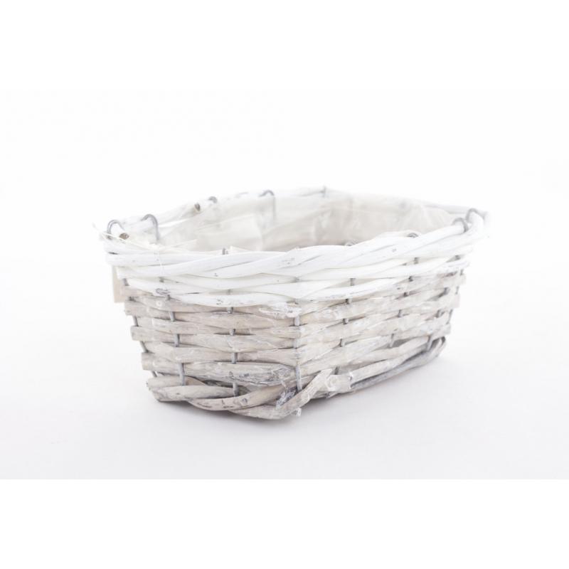RENO - Vannerie Rectangle Gris Bord Blanc L18 x P13 x H8 cm