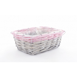 RENO - Vannerie Rectangle Gris Bord Fuchsia L23 x P16 x H8 cm
