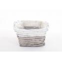 RENO - Vannerie Rectangle Gris Bord Blanc L23 x P17 x H9 cm