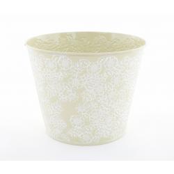 IRIS - Cache Pot Zinc Fleurs Vert D20,5 x H16 cm