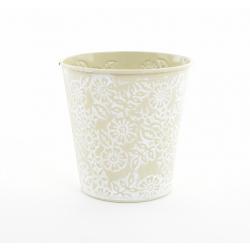 IRIS - Cache Pot Zinc Fleurs Vert D10,5 x H10,5 cm