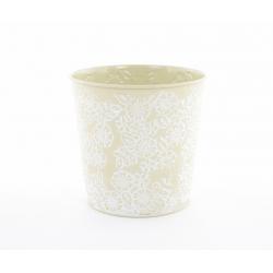 IRIS - Cache Pot Zinc Fleurs Vert D13 x H12,5 cm