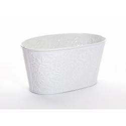 IRIS - Jardinière Ovale Zinc Fleurs Blanc L15 x P8 x H7 cm