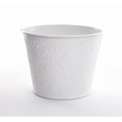 IRIS - Cache Pot Zinc Fleurs Blanc D11,5 x H9 cm