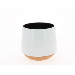 ALVAR - Cache Pot Céramique Conique Blanc D19 x H17 cm