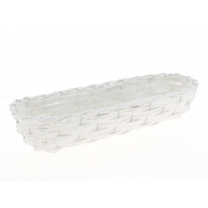 SETH - Jardinière Osier Ovale Blanc L44 x P16 x H9 cm
