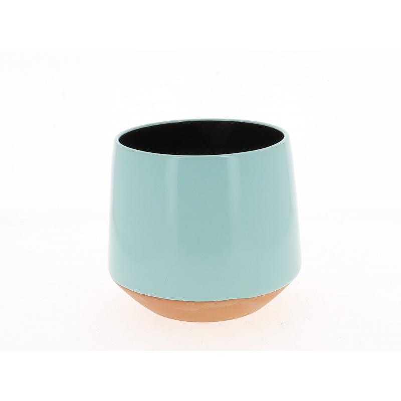 ALVAR - Cache Pot Céramique Conique Turquoise D19 x H17 cm