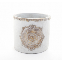 MANDA - Cache Pot Ciment Brut et Rosace D22,5 x H20 cm