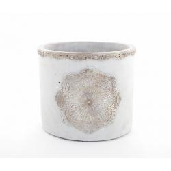 MANDA - Cache Pot Ciment Brut et Rosace D18,5 x H16 cm