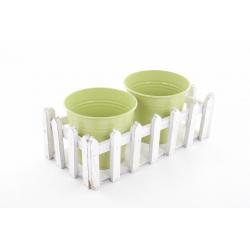 PIN - Seaux Zinc Vert et support Barrière L27 x P14 x H14,5 cm
