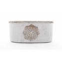 MANDA - Jardinière Ciment Brut et Rosace L23,5 x P12,5 x H10,5 cm