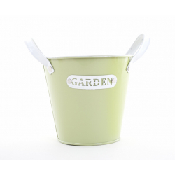 GARDEN - Seau Zinc Vert avec Anses D13 x H12 cm