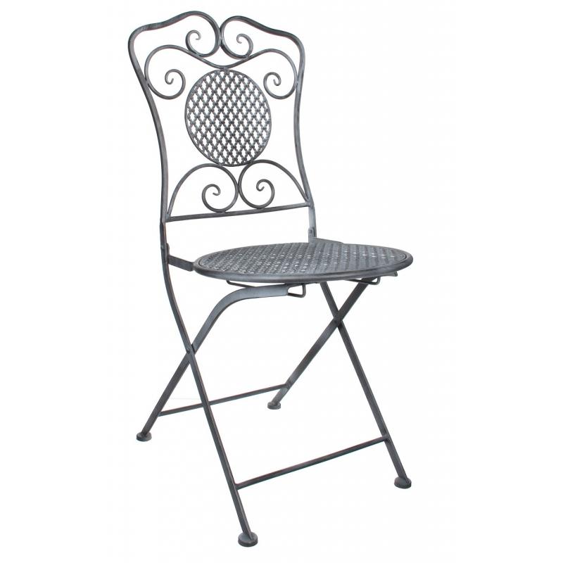 CASSIS - Chaise Pliante Fer Grise L53 x P40 x H90 cm