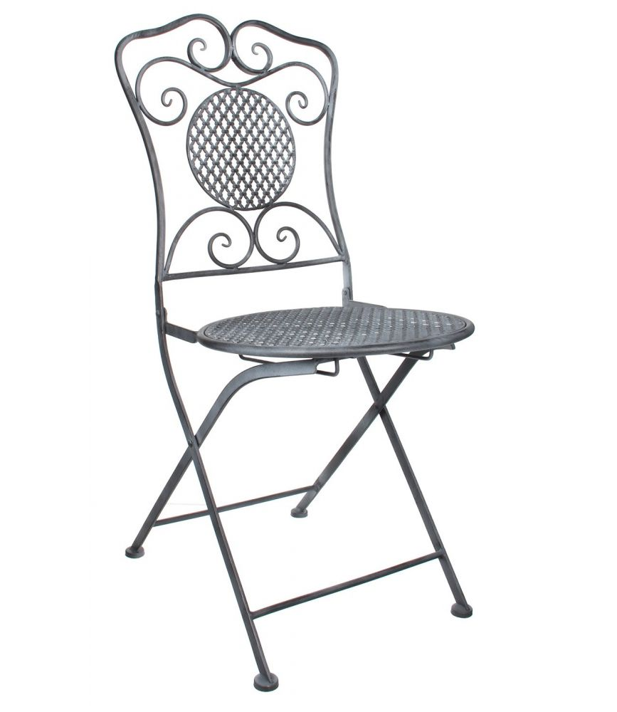 cassis chaise pliante fer grise l53 x p40 x h90 cm. Black Bedroom Furniture Sets. Home Design Ideas