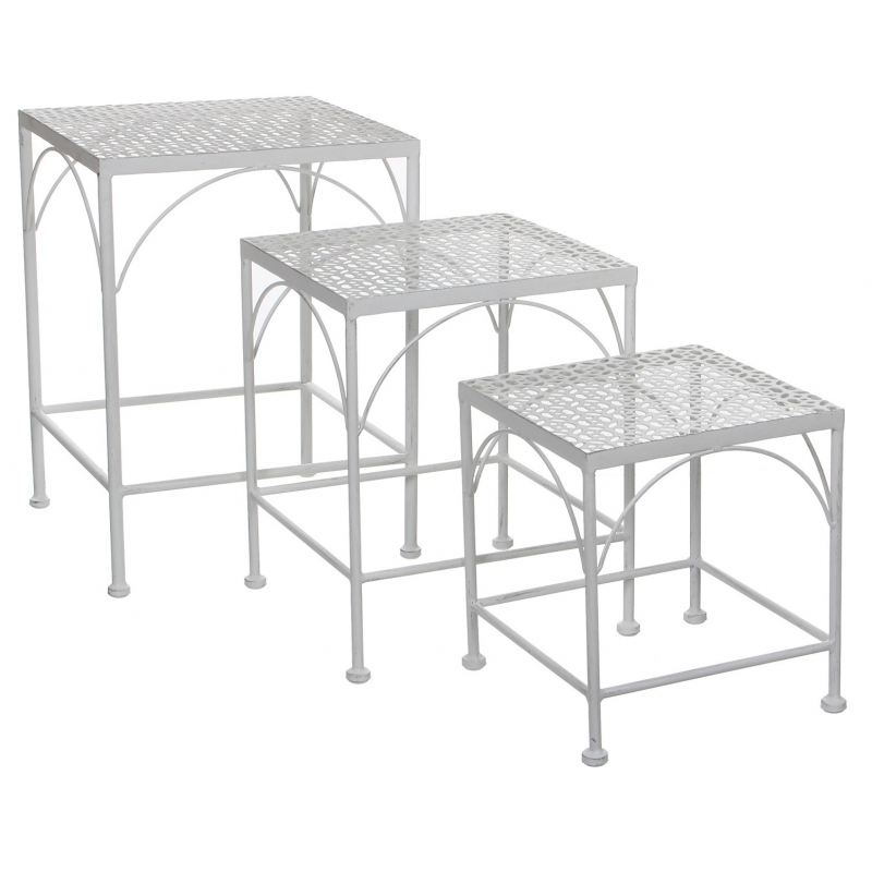 ALANZA - Table Carré Gigogne Fer Blanc - L32 x H43 cm en Set de 3