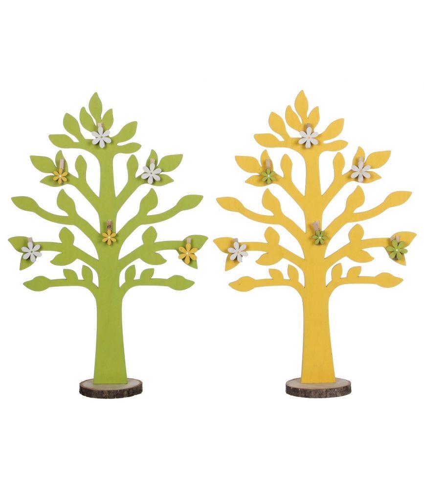 Deco Jaune Et Vert tree - arbre bois déco jaune vert assorti l25,5 x h88,5cm par 2